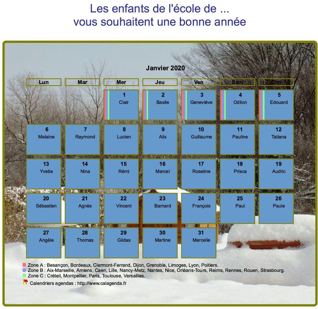 Calendrier agenda mensuel artistique avec photo et légende, paysage hivernal