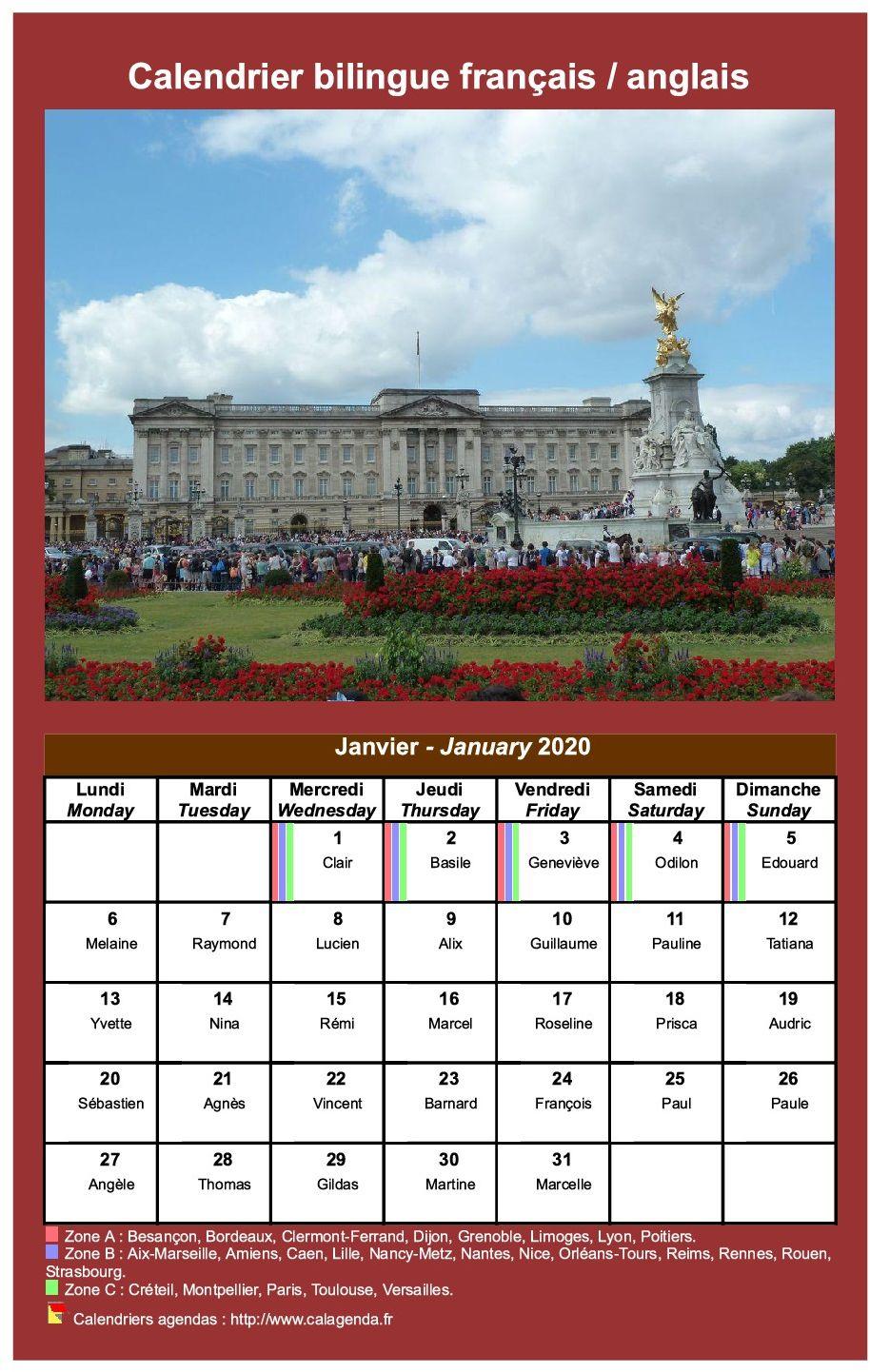 Calendrier mensuel bilingue français / anglais.