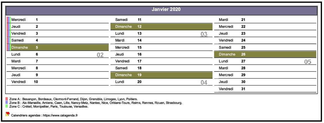 Calendrier mensuel 2020 en décades