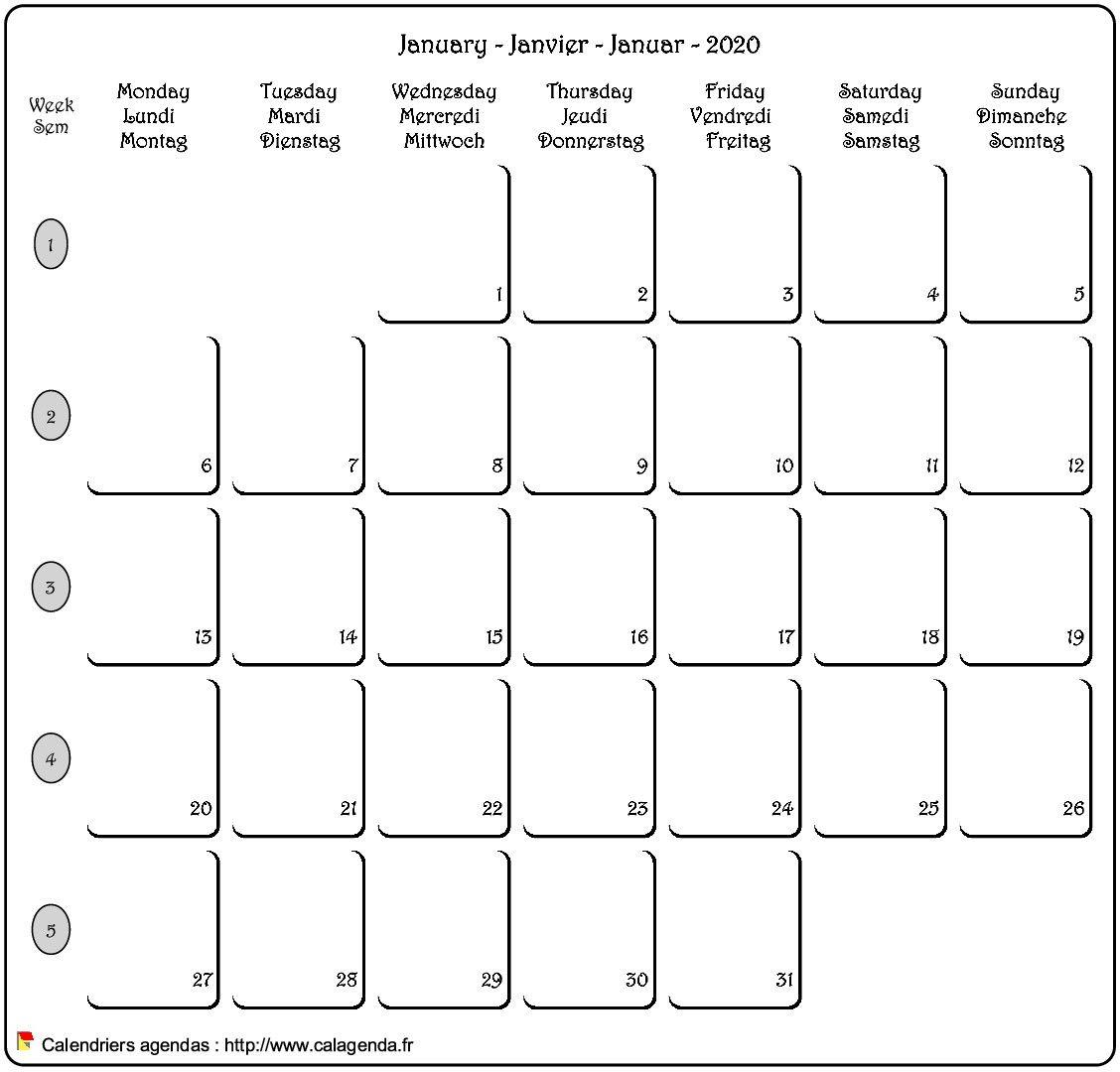 Calendrier mensuel français / anglais / allemand.