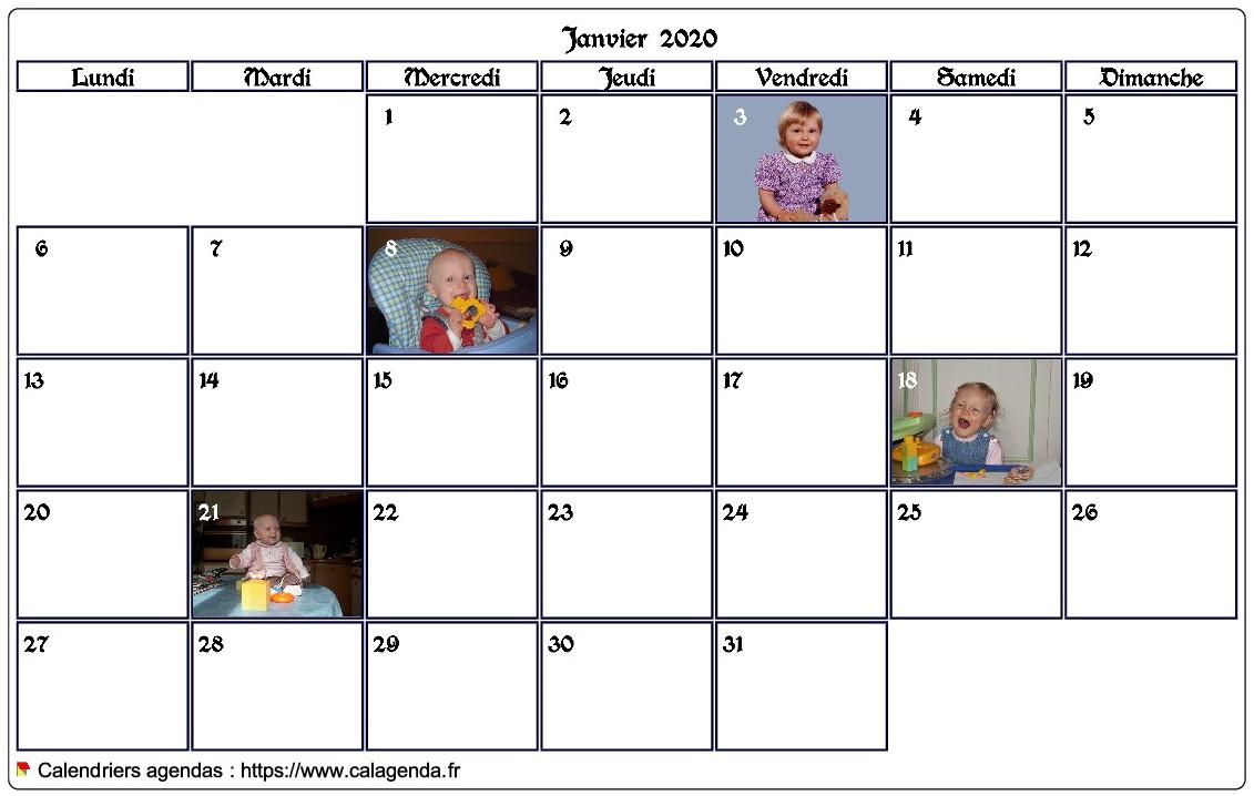 Calendrier mensuel avec photos d'anniversaires dans les cases