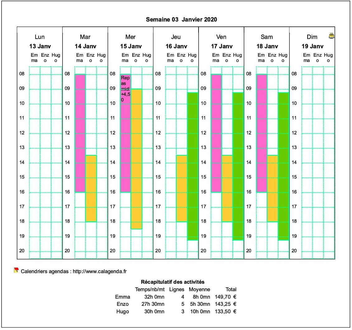 Planning assistante maternelle hebdomadaire horizontal