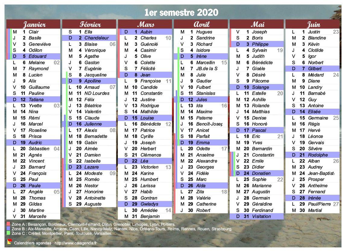 Calendrier 2020 Et 2020 Avec Vacances Scolaires.Calendrier 2020 A Imprimer Semestriel Avec Les Fetes