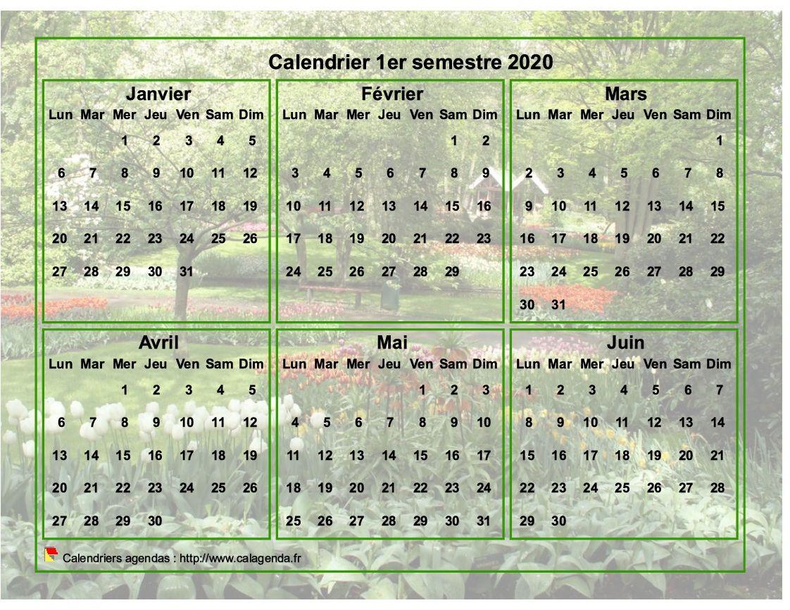 Calendrier 2020 à imprimer semestriel, format paysage, avec photo en fond de calendrier