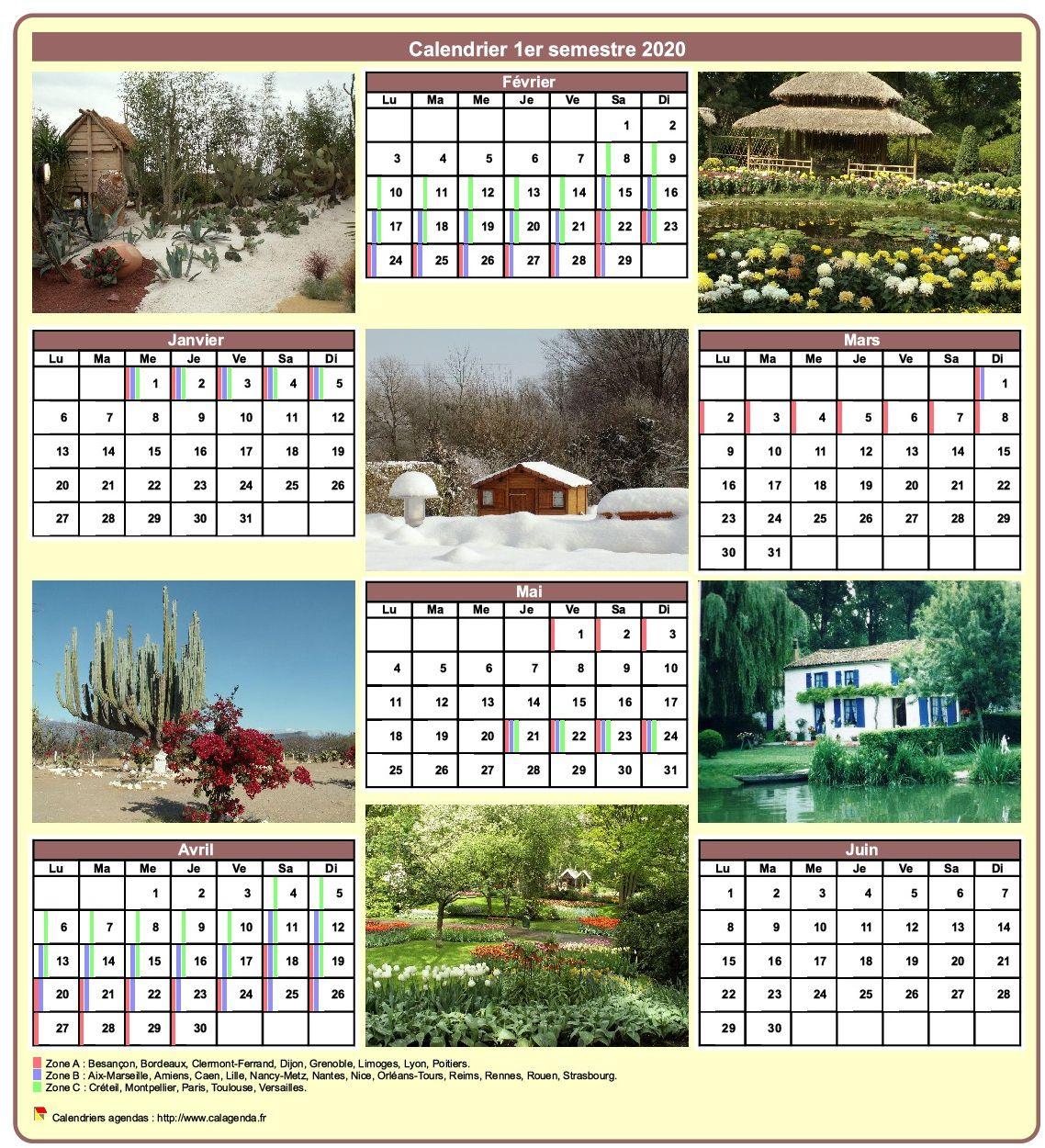 Calendrier 2020 semestriel avec une photo différente chaque mois
