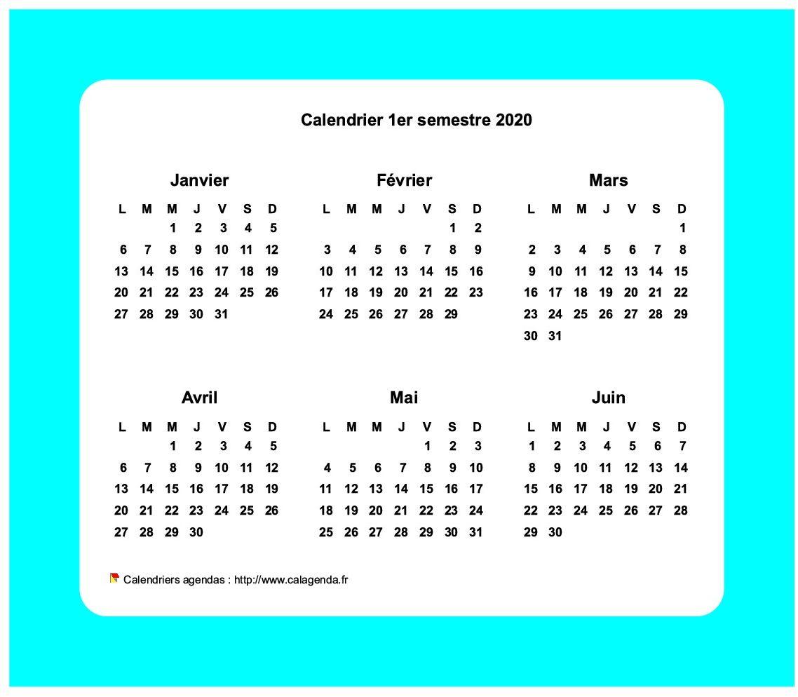 Calendrier 2020 semestriel avec bordure