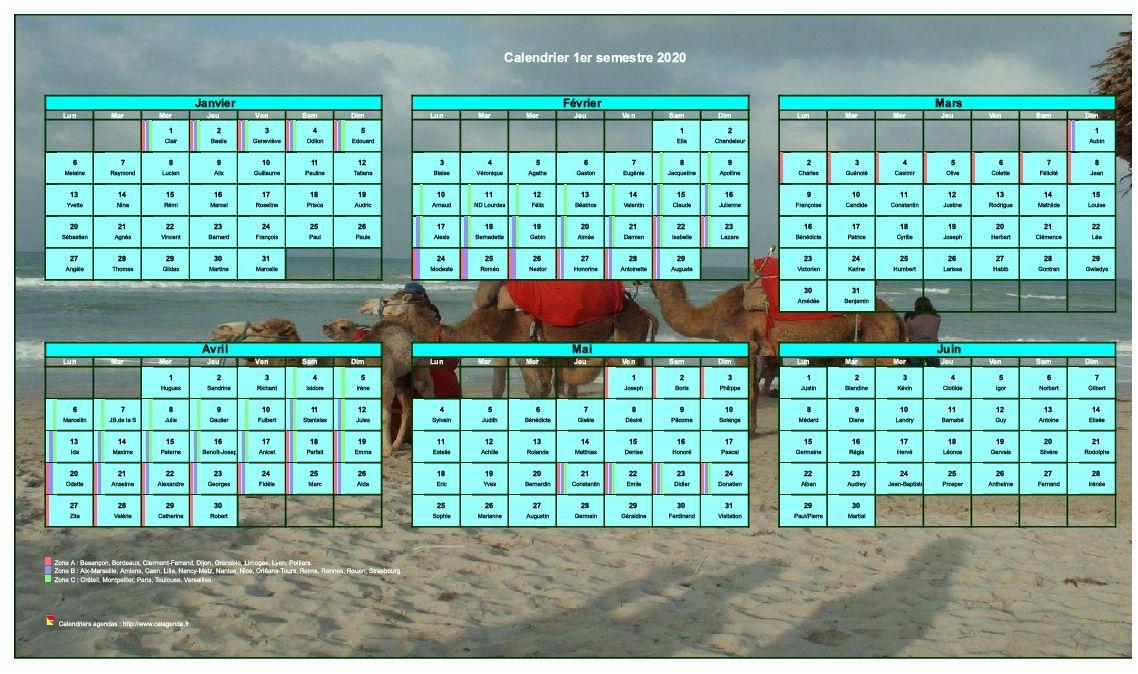 Calendrier Scolaire 2020 à Imprimer.Calendrier 2020 A Imprimer Semestriel Format Paysage Avec