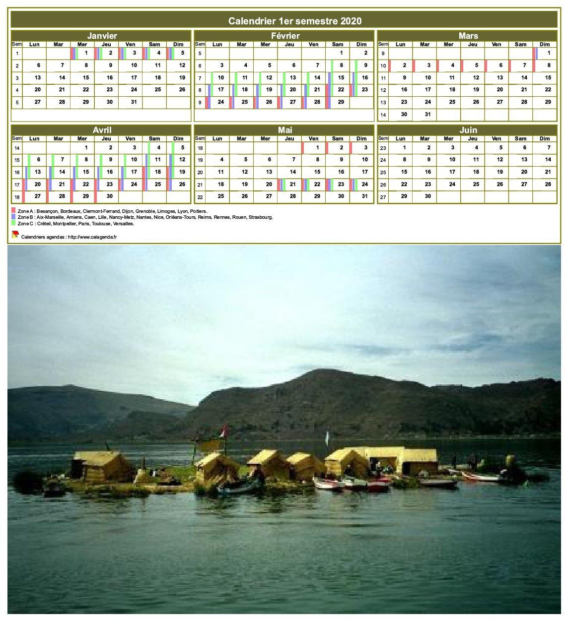 Modèle par défaut du calendrier agenda semestriel, 3 colonnes, un trimestre par ligne