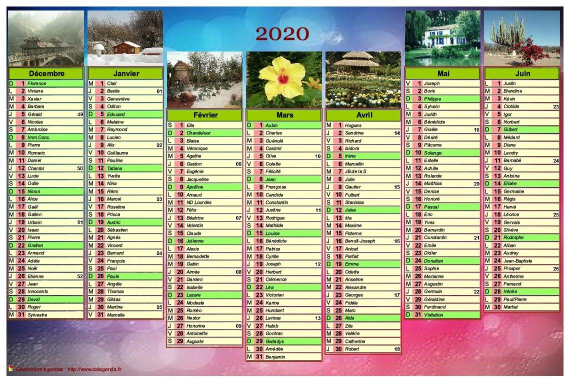 Calendrier 2020 de sept mois avec photos