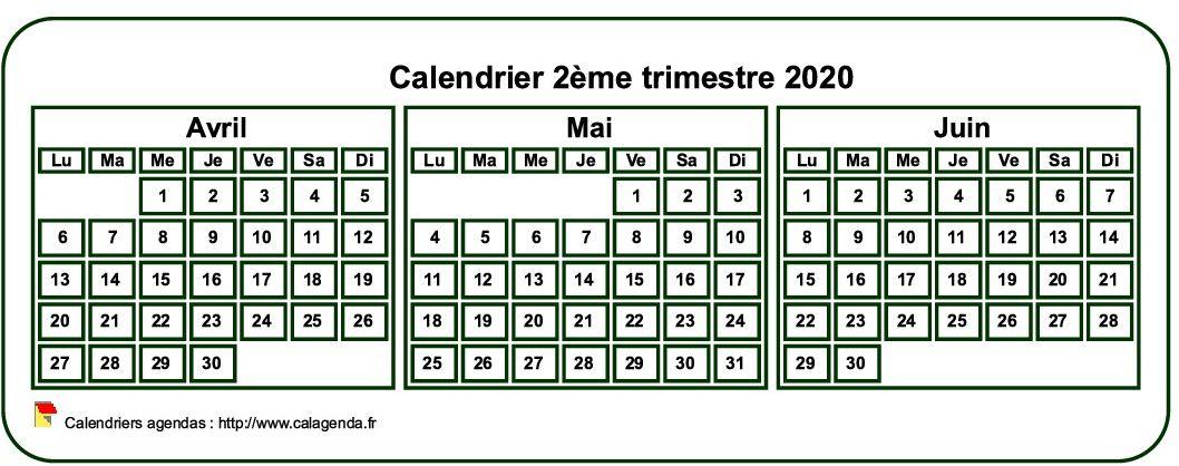 Calendrier 2020 à imprimer trimestriel, format mini de poche, fond blanc