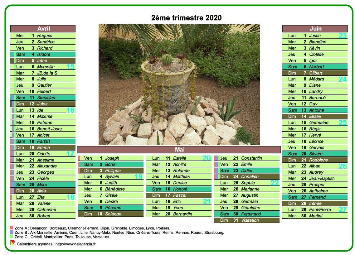 Calendrier 2020 trimestriel de style postes