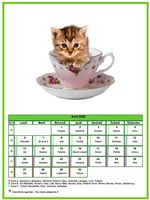 Calendrier d'avril 2020 chats