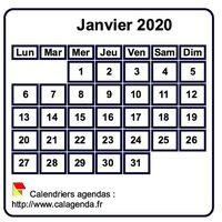 Calendrier mensuel mini blanc