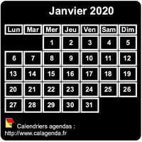 Calendrier mensuel mini noir