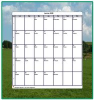 Calendrier mensuel vierge, avec les fêtes, blanc, format portrait, avec une photo