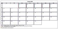 Calendrier mensuel agenda détaillé, format paysage