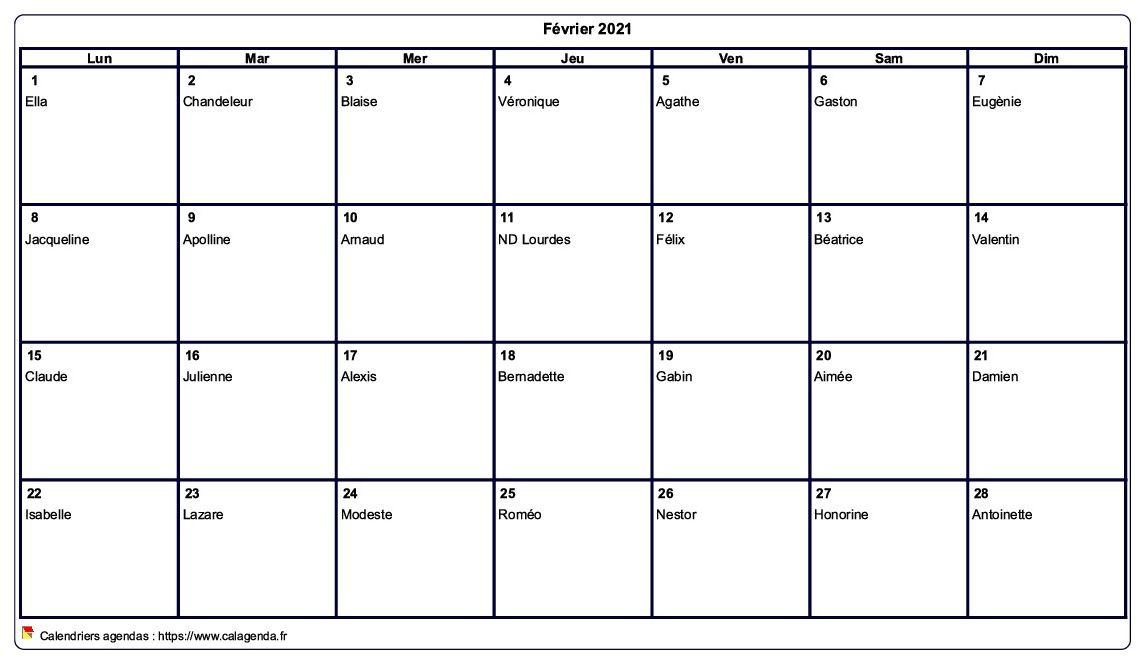 Calendrier février 2021 à imprimer vierge, avec les fêtes