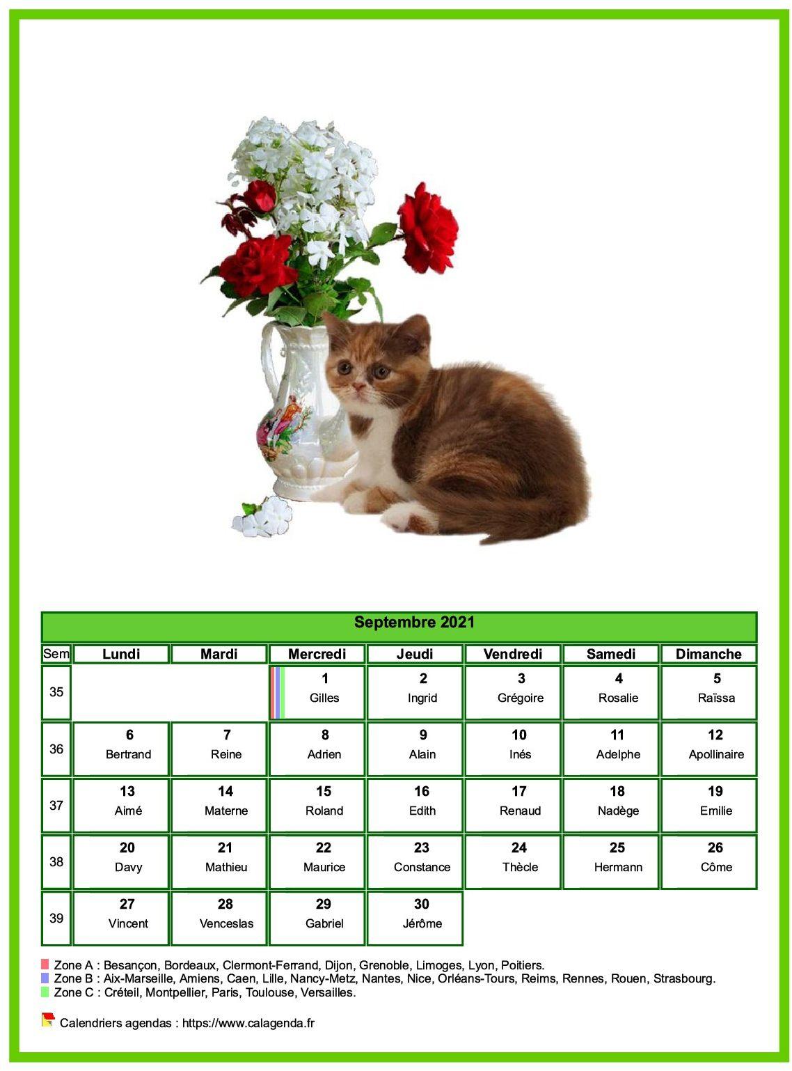 Calendrier septembre chats