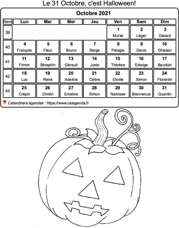 Calendrier 2021 à colorier du mois d'octobre