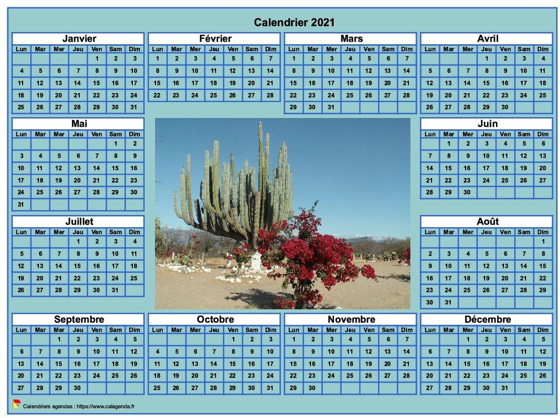 Calendrier 2021 photo annuel à imprimer, fond cyan, format paysage