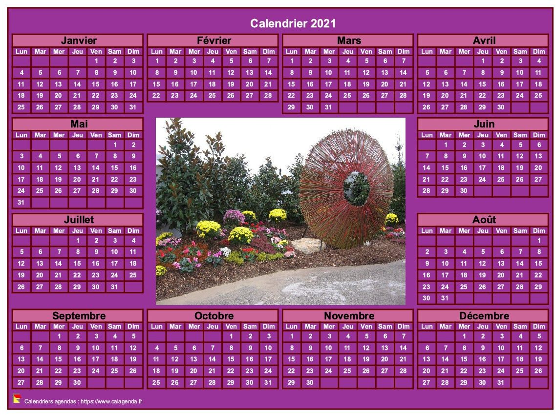 Calendrier 2021 photo annuel à imprimer, fond rose, format paysage