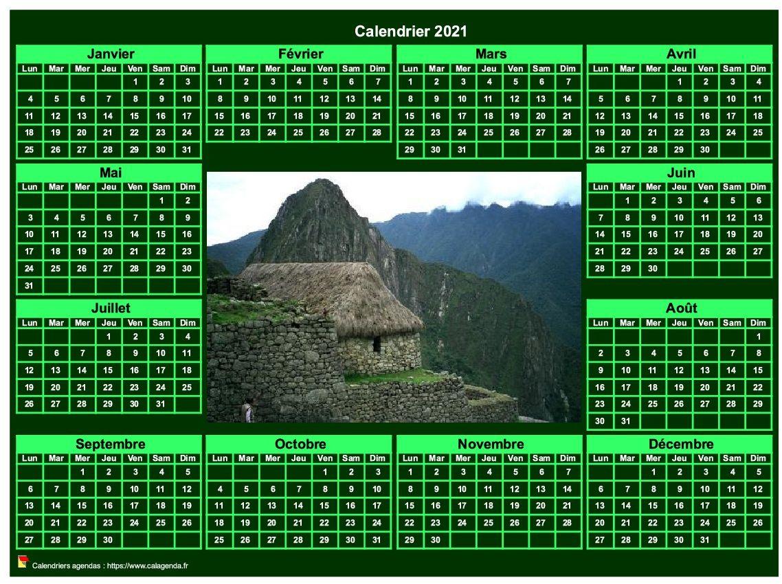 Calendrier 2021 photo annuel à imprimer, fond vert, format paysage