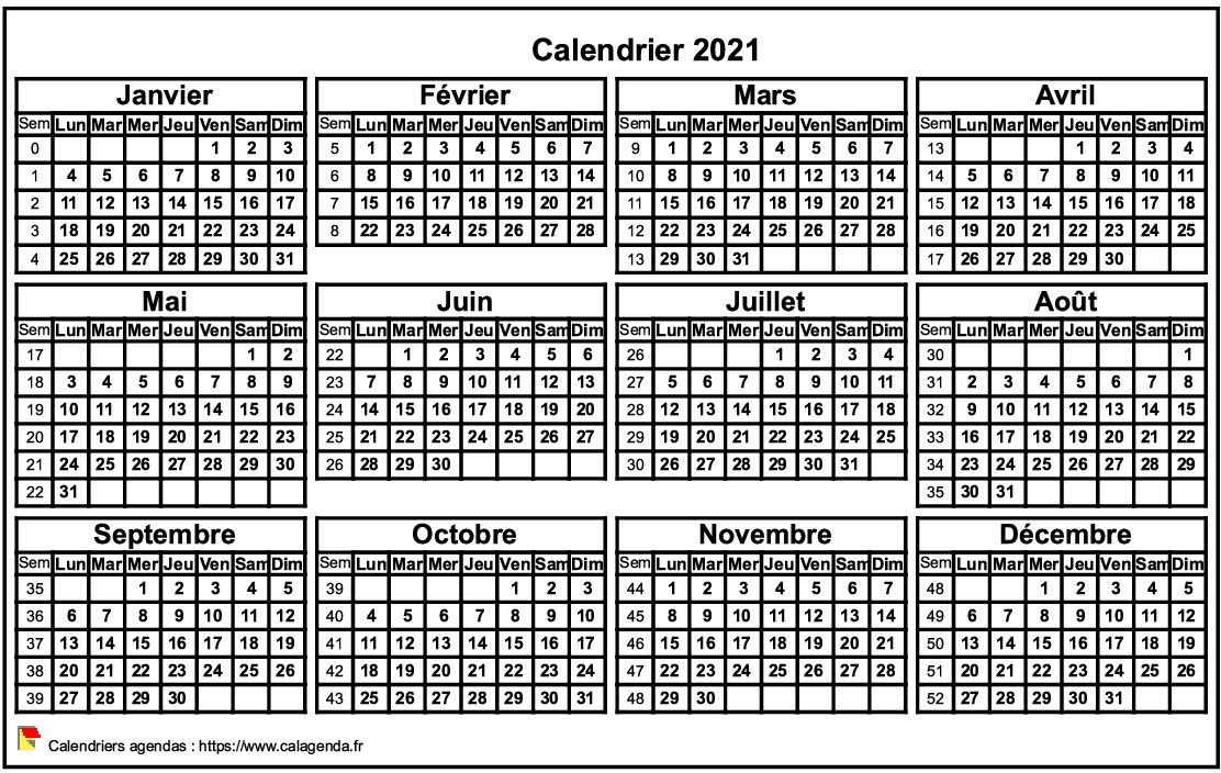 Mini Calendrier 2021 Calendrier 2021 format paysage