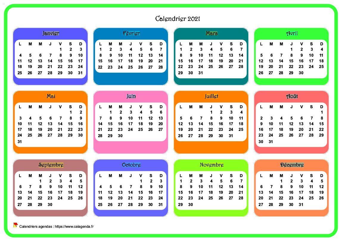 Calendrier 2021 annuel avec plusieurs dégradés de couleur