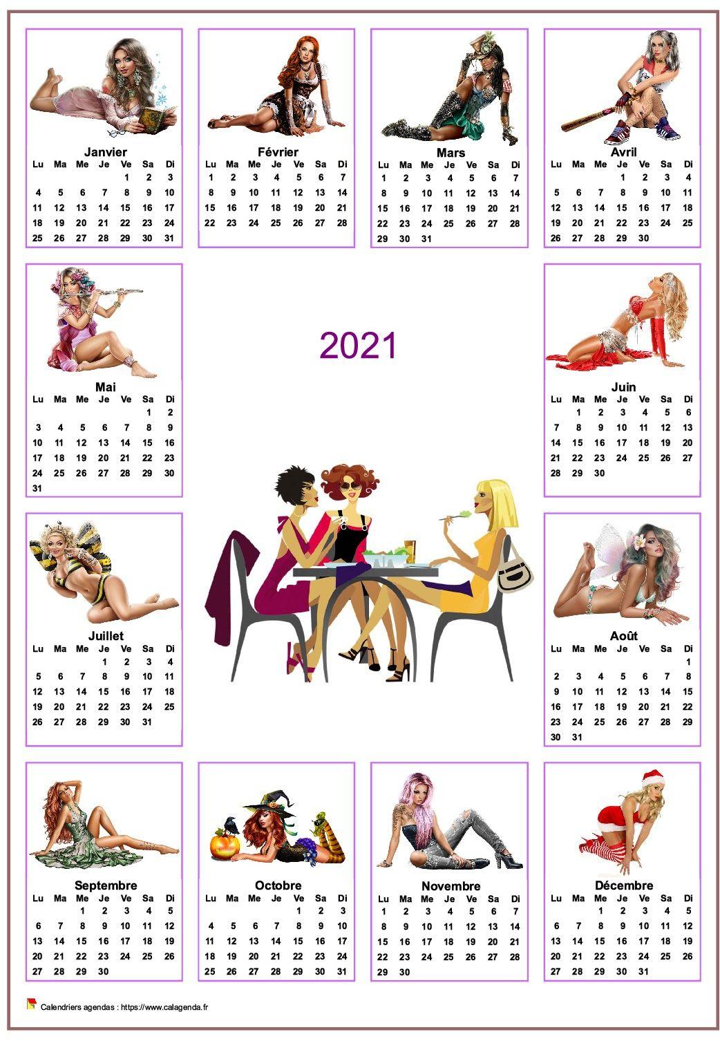 Calendrier 2021 annuel tubes femmes