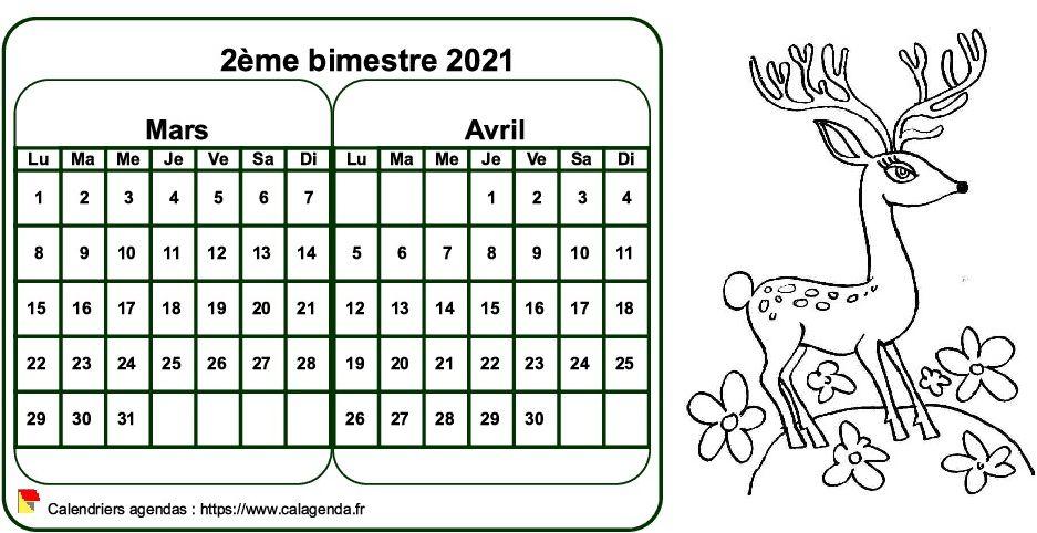 Calendrier 2021 à colorier bimestriel, format paysage, pour enfants