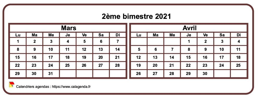 Calendrier 2021 à imprimer bimestriel, format mini de poche