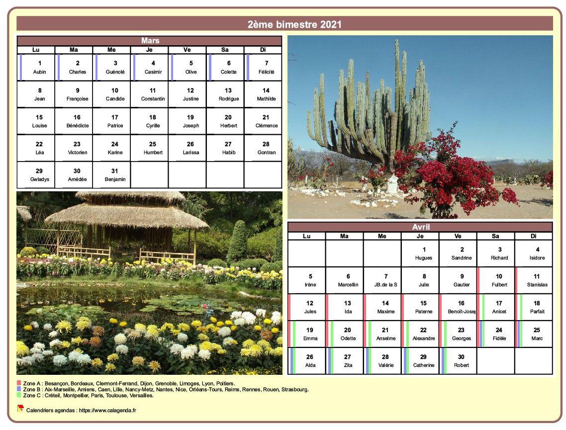 Calendrier 2021 bimestriel avec une photo différente chaque mois