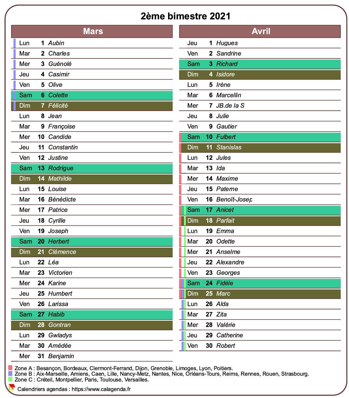 Calendrier 2021 bimestriel avec agenda détaillé, format portrait, une colonne par mois