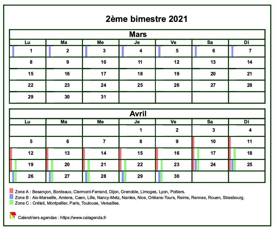 Calendrier 2021 à imprimer bimestriel, format mini de poche, avec les vacances scolaires