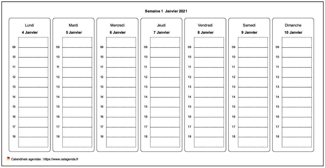 Planificateur hebdomadaire de format paysage avec grille horaire