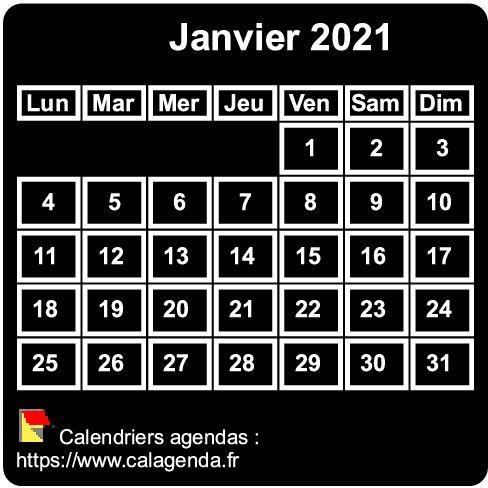 Calendrier mensuel 2021 à imprimer, fond noir, taille mini, format