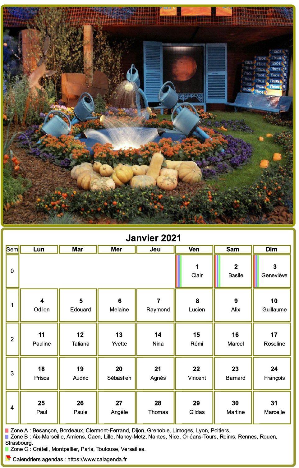 Calendrier 2021 à imprimer, mensuel, avec photographie au dessus