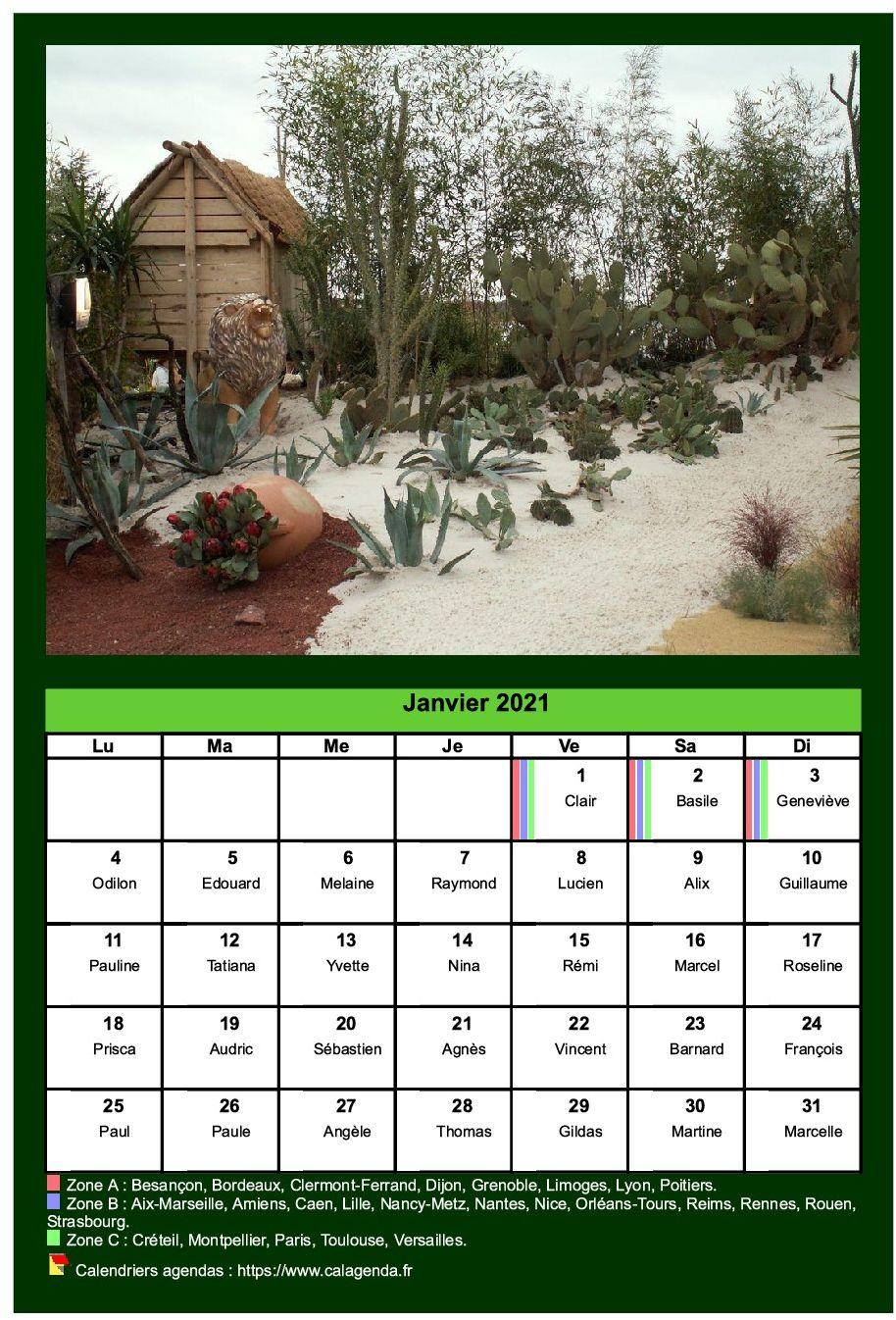 Calendrier mensuel 2021 avec une photo différente chaque mois
