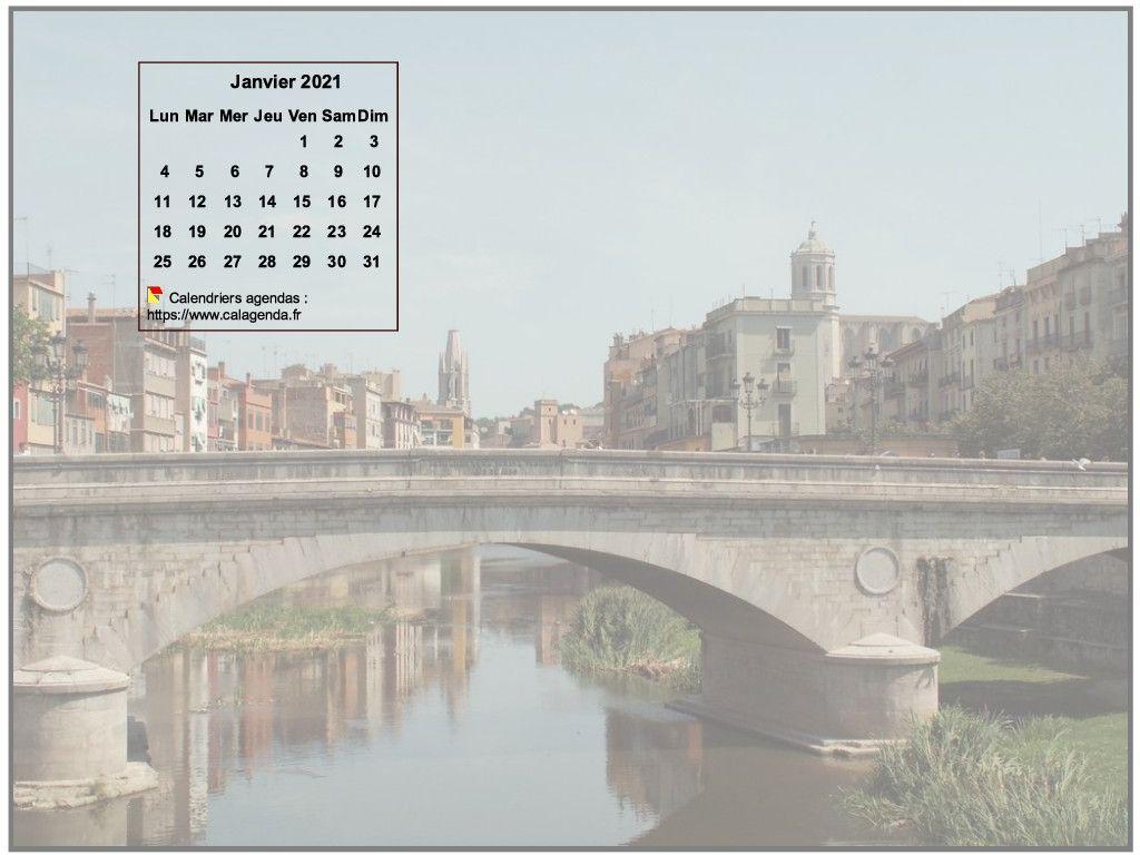 Calendrier mensuel 2021 à imprimer, incrusté en haut à gauche d'une photo