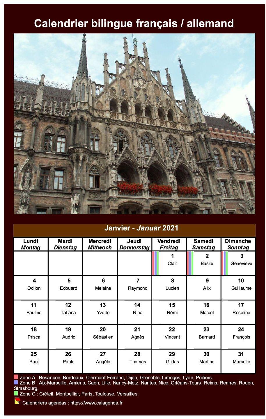 Calendrier Fêtes Médiévales 2021 Calendrier mensuel 2021 allemand
