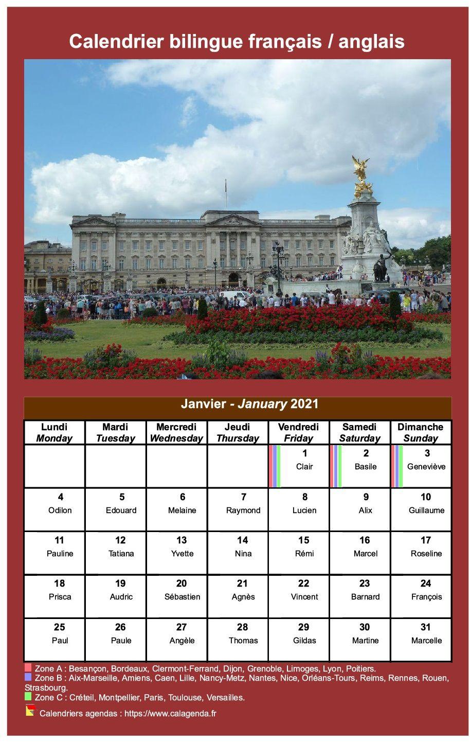 Calendrier 2021 Anglais Calendrier mensuel 2021 bilingue français / anglais.