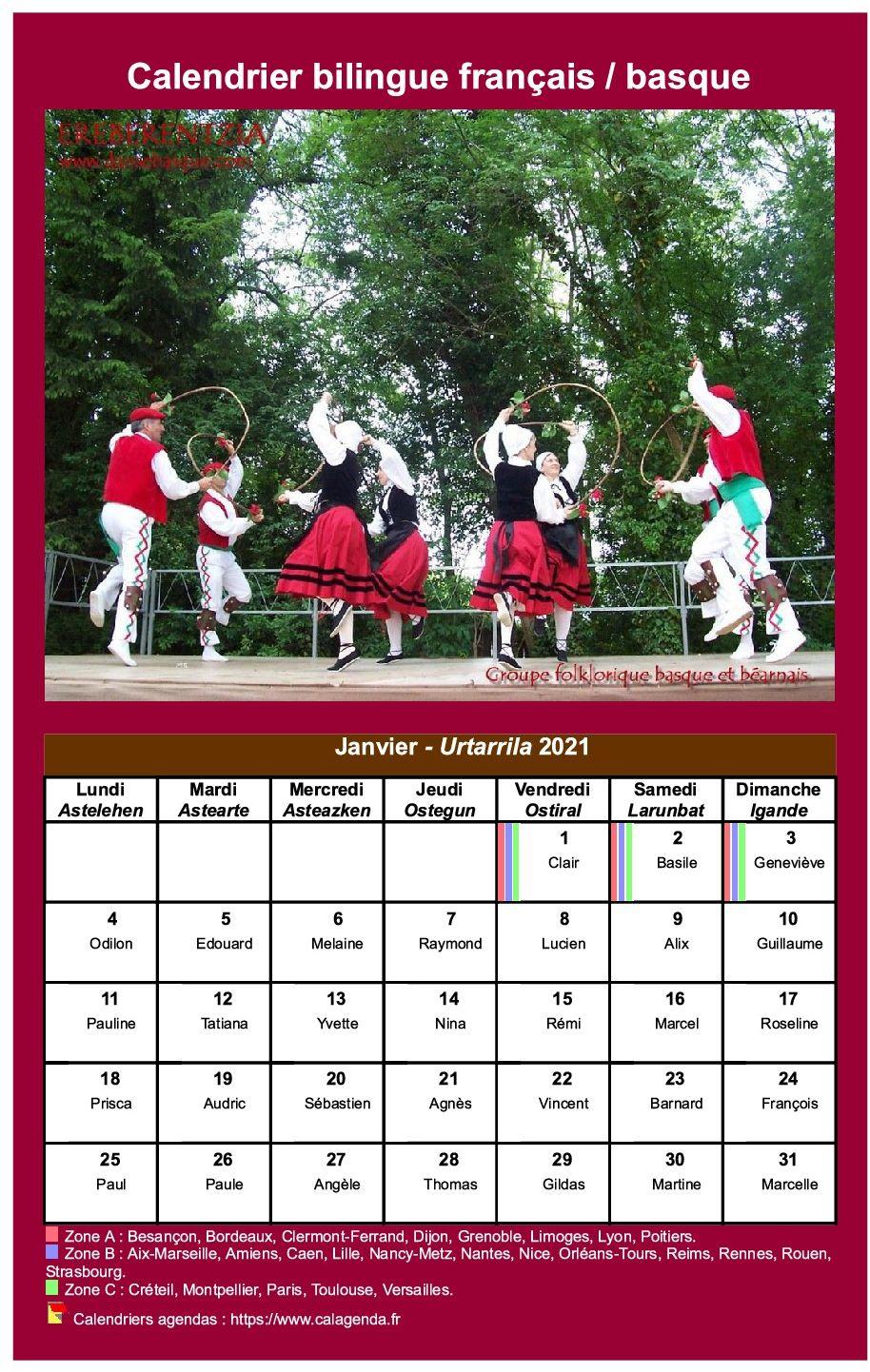 Calendrier mensuel 2021 basque