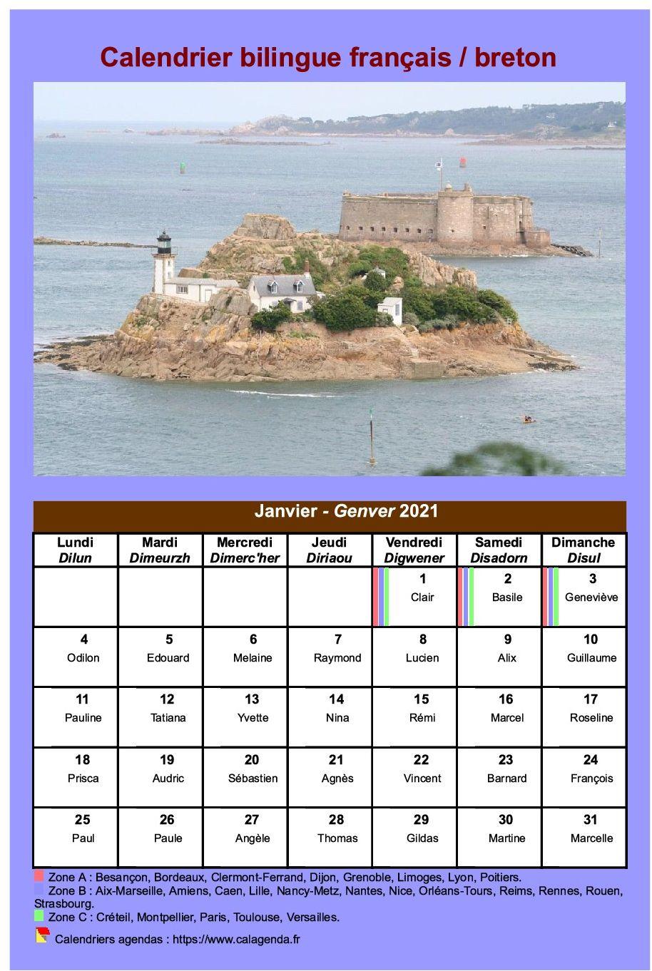 Calendrier Breton 2021 Calendrier mensuel 2021 breton