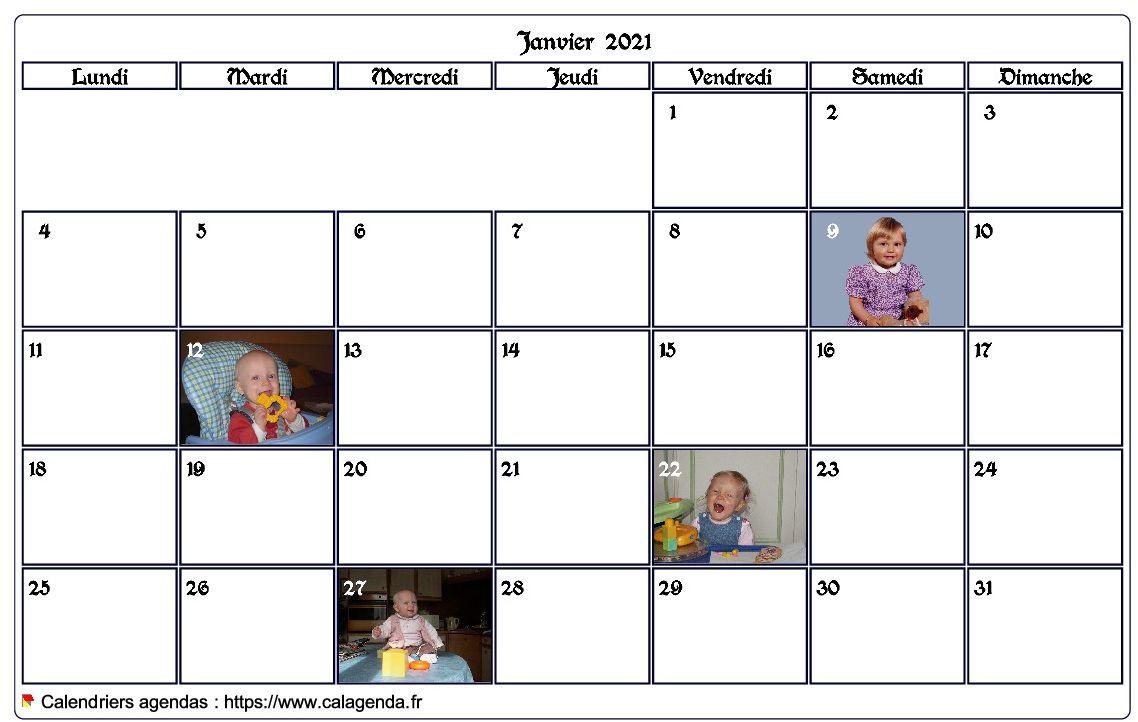 Calendrier mensuel 2021 avec photos d'anniversaires dans les cases