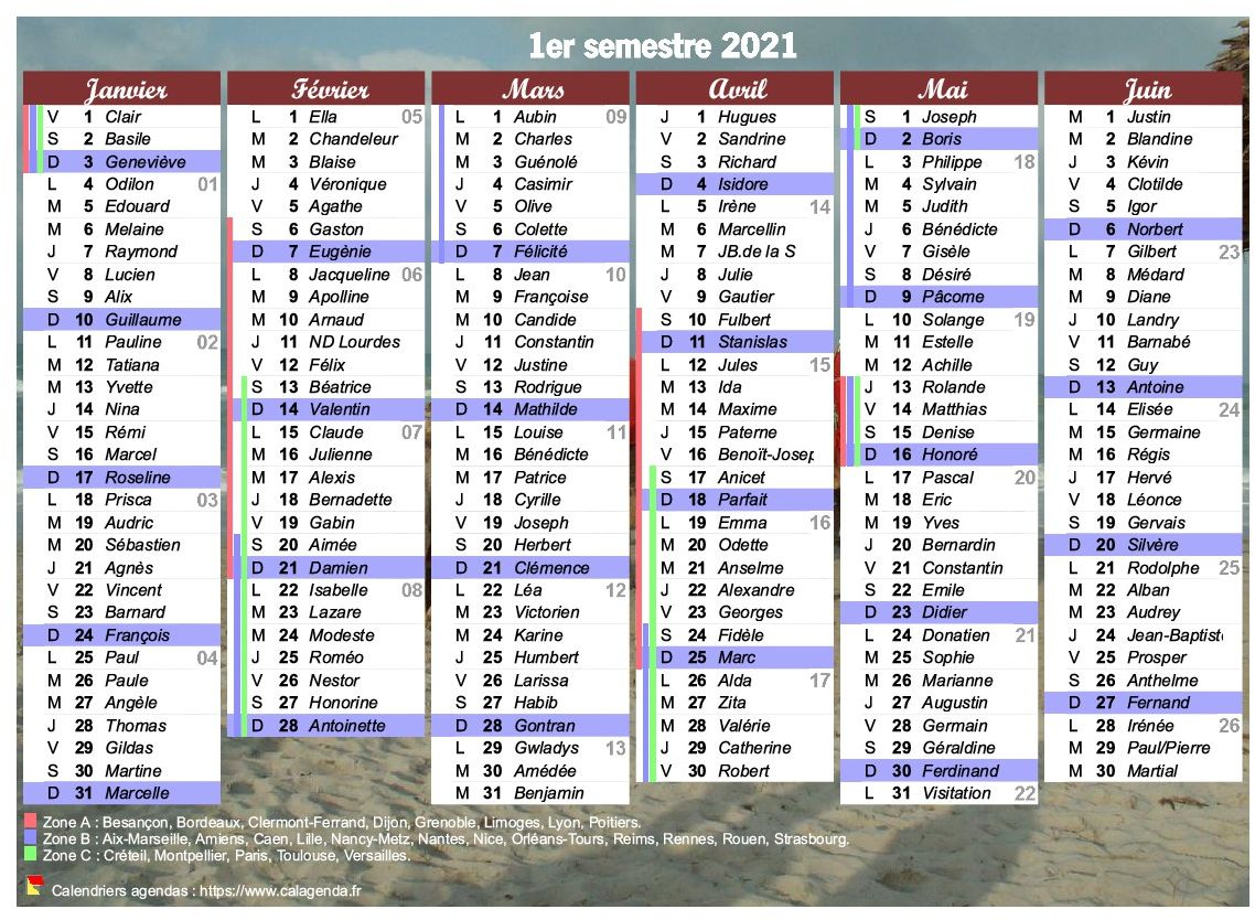 Calendrier 2021 à imprimer, semestriel, avec les fêtes, format