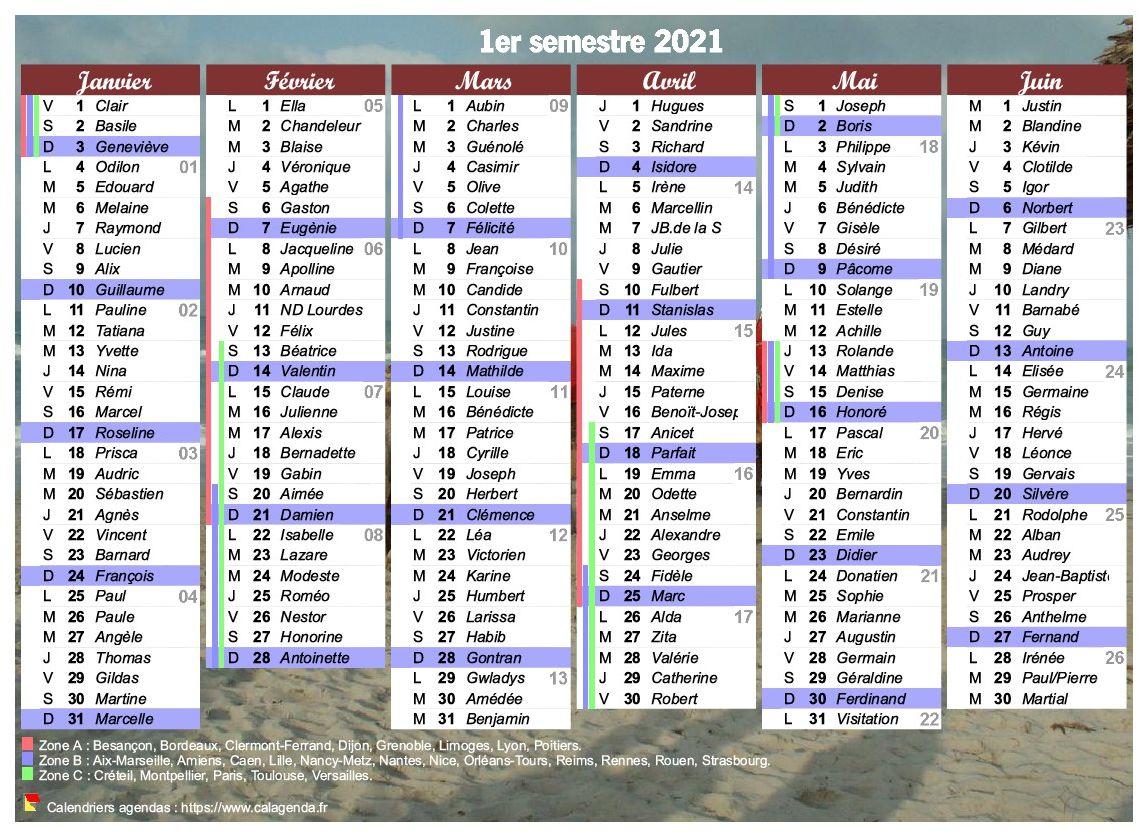 Calendrier 1er Semestre 2021 à Imprimer Calendrier 2021 à imprimer, semestriel, avec les fêtes, format