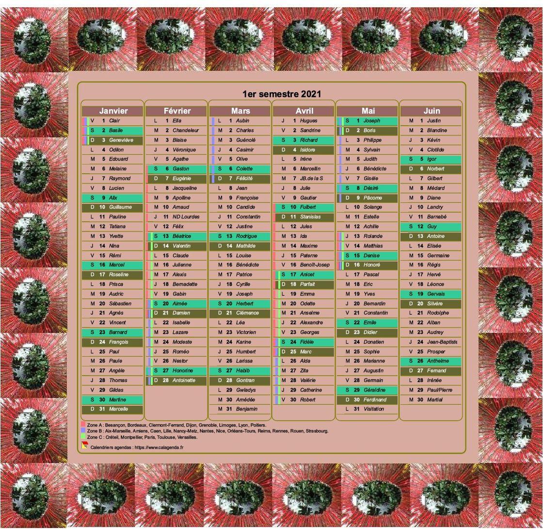 Calendrier 2021 semestriel décoratif à imprimer, avec cadre photo