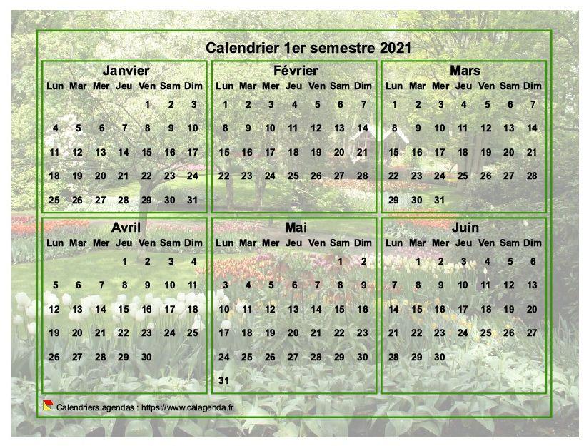 Calendrier 2021 à imprimer semestriel, format paysage, avec photo en fond de calendrier