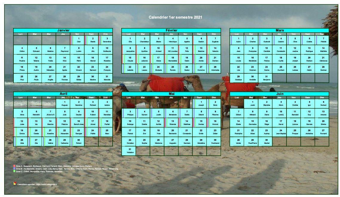 Calendrier 2021 à imprimer semestriel, format paysage, avec photo