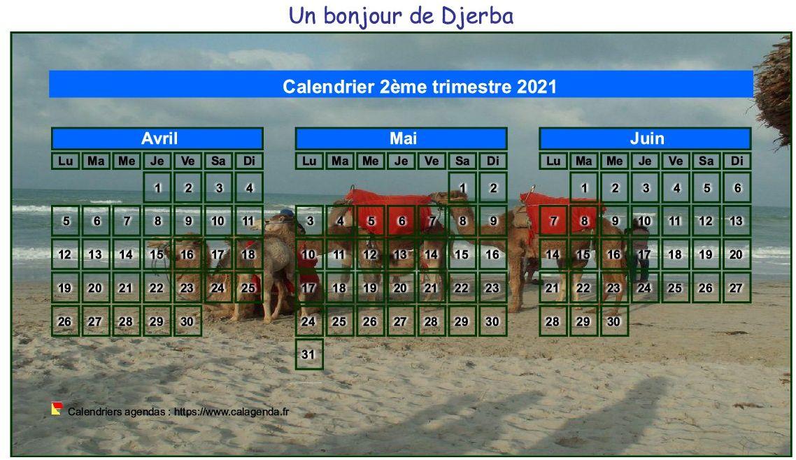 Calendrier 2021 à imprimer artistique trimestriel, format mini de